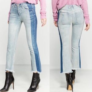 Mcguire Denim Blue Valletta Two-tone Cropped Jeans
